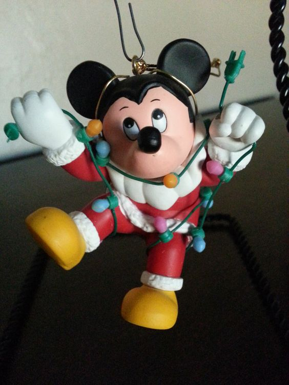 Mickey Mouse holiday ornament Walt Disney character Santa outfit tangled Christmas lights Grolier collectible figurine Xmas tree ornaments by likesteel on Etsy https://www.etsy.com/listing/249339723/mickey-mouse-holiday-ornament-walt