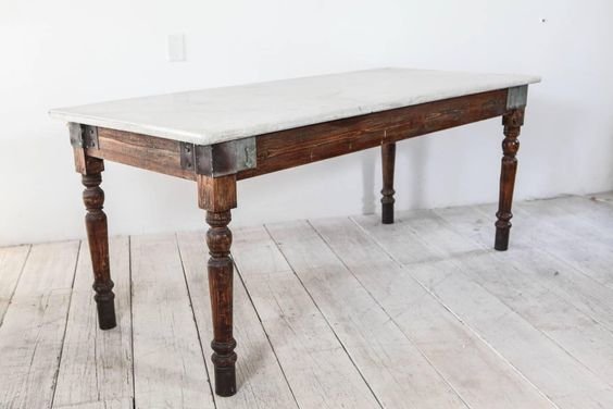 Italian Farm Table With White Marble Top Marble Top Dining Table Marble Table Top Kitchen Table Marble