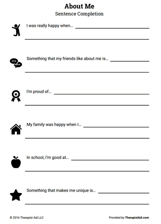 Worksheets Mental Health Group Worksheets printables mental health group worksheets joomsimple thousands about me self esteem sentence completion preview preview
