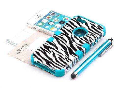 iPhone 5S Case,Pandamimi ULAK(TM) Hybrid High Impact Tribal Case Cover para Apple iPhone 5S 5 5G (Black Zebra + Blue)