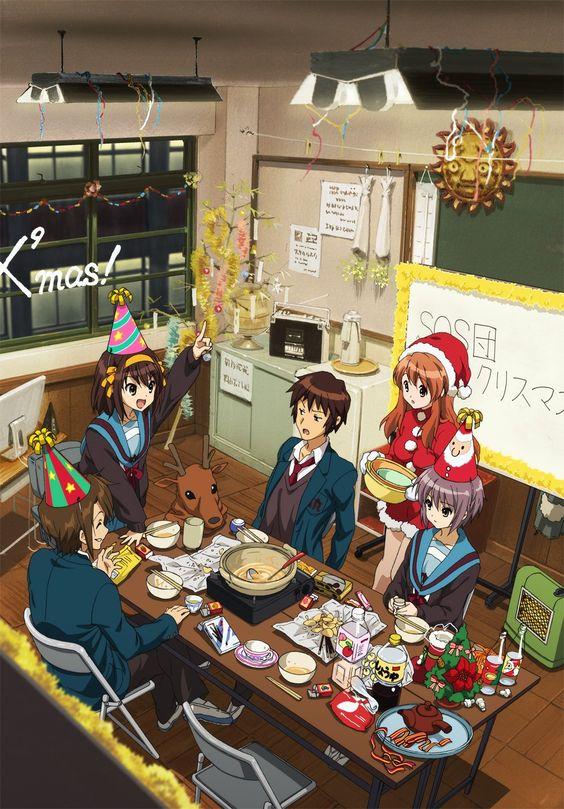 SOS団のメンバーがクリスマスパーティーをしている「涼宮ハルヒの憂鬱」の画像