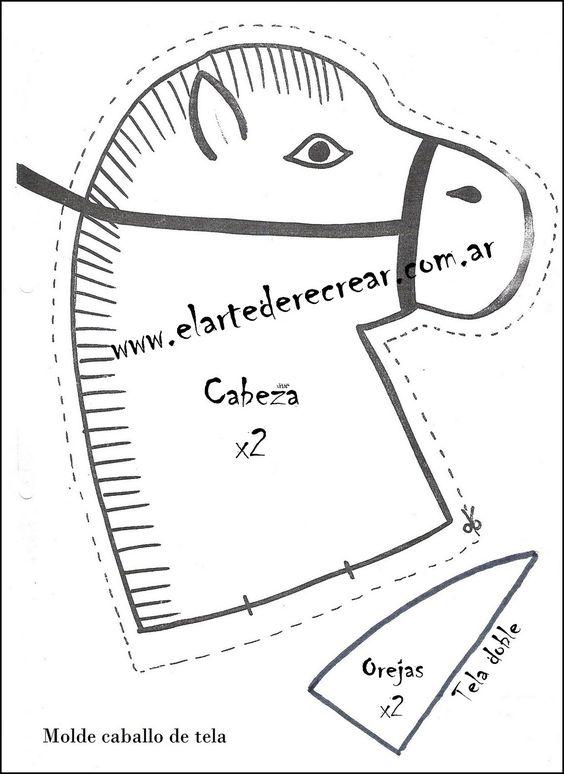 RECREAR - MANUALIDADES - ARTE: Caballito de tela con palo de madera para niños .Caballo de tela.
