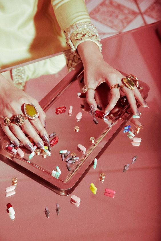 Valley of The Dolls Pills Popping Nails Beauty Shoot