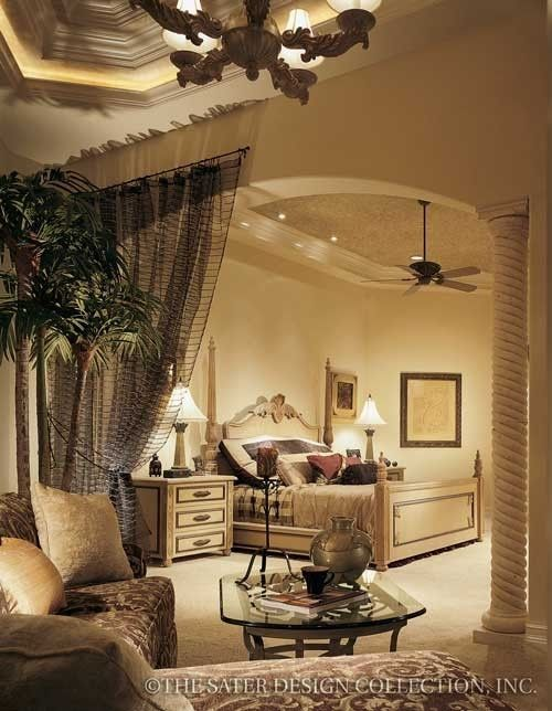 Sitting area and separation of bed area with archway for Master bedroom with sitting area designs