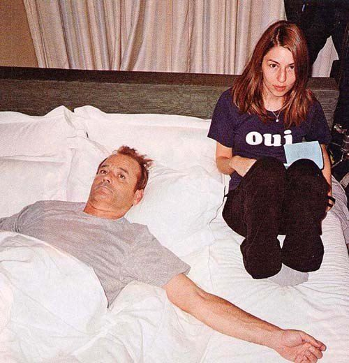 Bill Murray and Sofia Coppola hanging on the set of Lost In Translation.