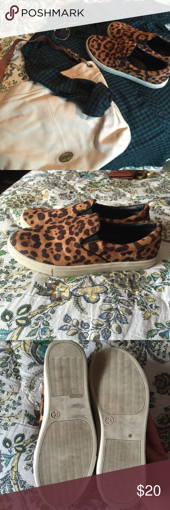 Adorable leopard flat loafers Leopard suede style (not genuine) with cream trim! Hardly worn! No sign or wear or tear! Candie's Shoes Sneakers