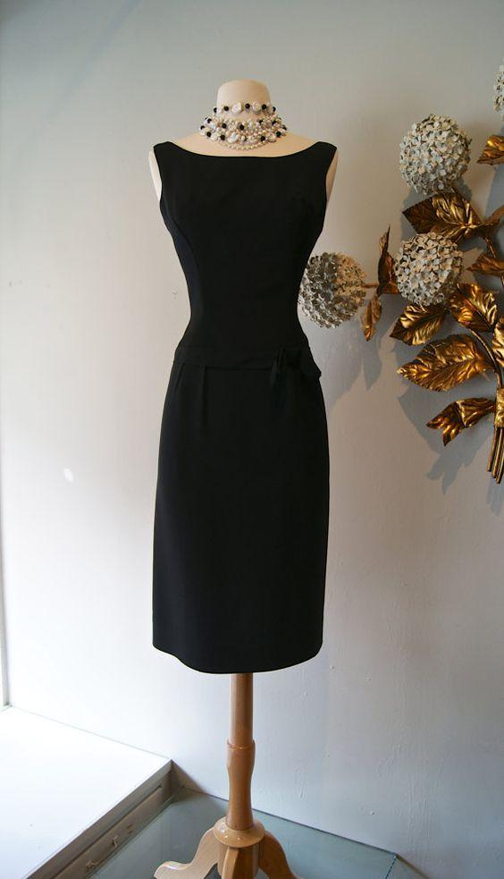 60s Dress Vintage 1960 S Little Black Cocktail Dress