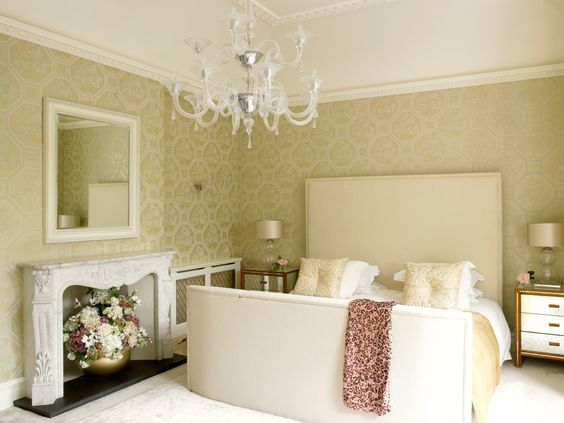 Twickenham residence master bedroom gold and cream colour for Cream and gold bedroom designs