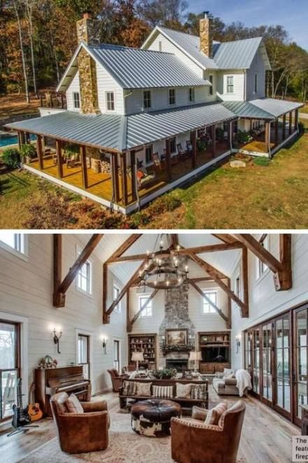 41 New Ideas Farmhouse Plans One Story Country Houses Metal Roof Barn House Plans Modern Farmhouse Exterior Metal Building Home