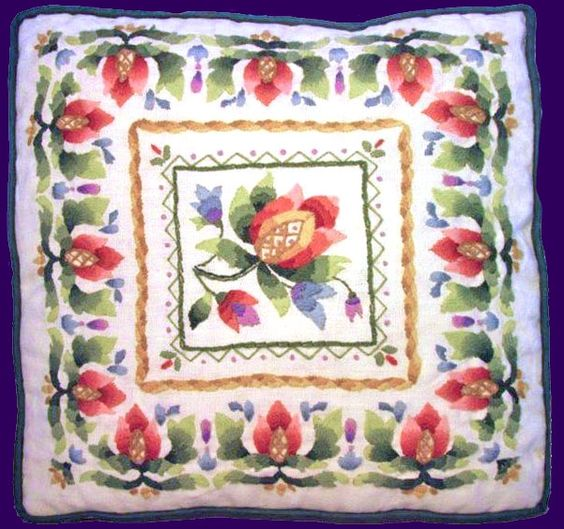Checkout this amazing deal LeClair Fleur de Lis NeedleArt Crewel Embroidery Pillow Barbara Ann,$325.99
