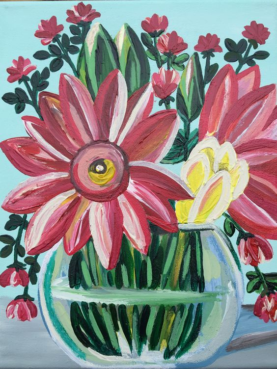 Original Floral Acrylic Medium Size Spring Turquoise Art Painting