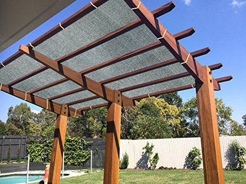 Ecover 90 Shade Cloth Grey Sunblock Fabric Rope Uv Resistant Patio Pergola Canopy 12x12ft Pergola Backyard Pergola Pergola Shade