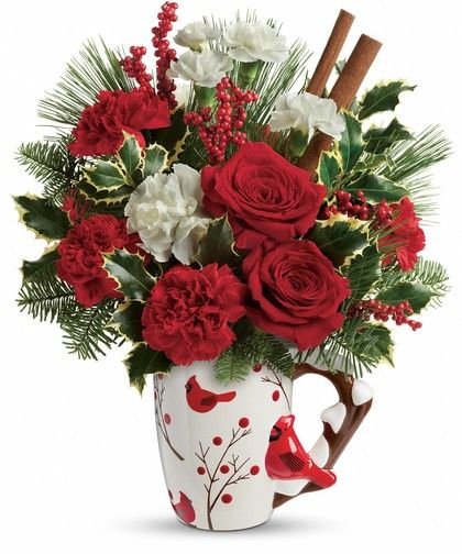 Wings of Winter Bouquet: Sure to warm their hearts no matter how chilly it gets outside! Filled with fresh red roses, white carnations and festive trimmings, this adorable, hand-painted mug features charming Christmas cardinals in a snowy scene - a food-safe gift that will be perfect for holiday hot cocoa!: