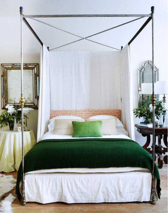 green bedding bedroom neutral canopy bed