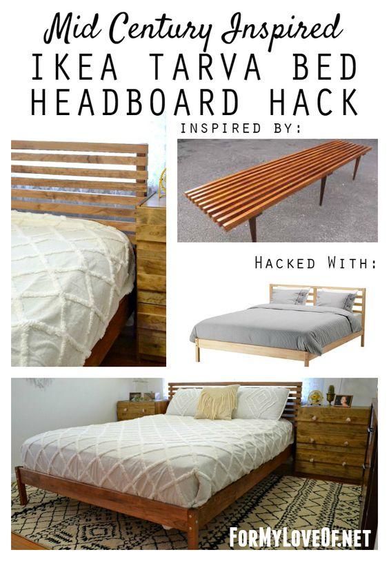 Ikea Tarva Nightstand Ideas ~ Mid Century Inspired IKEA Tarva Bed Headboard Hack