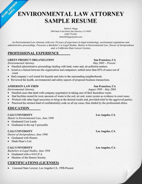Environmental Law Attorney Resume Sample - #Law (resumecompanion - resume for lawyers