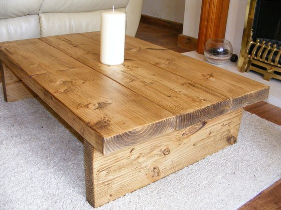 Details about coffee table rustic chunky handmade solid