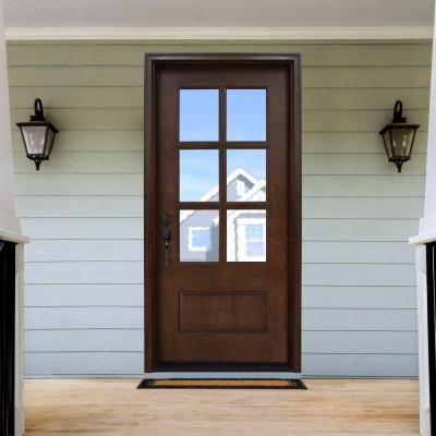 Steves sons 36 in x 80 in savannah 6 lite stained for Home depot front doors wood