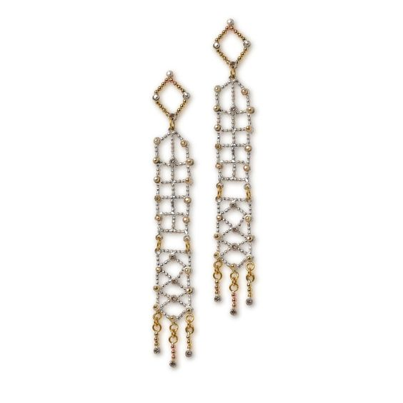 Lattice - Beautiful blocks of patterns come together to create these intricate earrings. Accented with 18K gold details, tassels, and champagne diamonds.