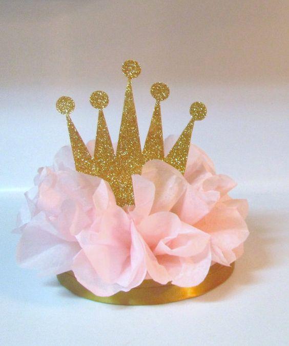 Crown tiara glitter centerpiece pink by