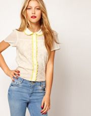 ASOS Blouse With Lace Trims And Embroidery