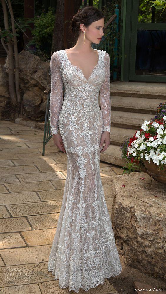 long sleeves v neck lace sheath wedding dress