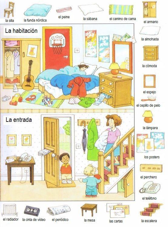 La habitaci n vocabulario ele pinterest for Cuarto para colorear