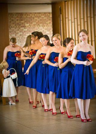 Photo via  Shades of blue Orange shoes and Blue dresses