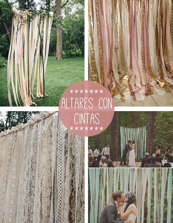 Altar cintas boda ideas para bodas pinterest telas for Cortinas y decoracion