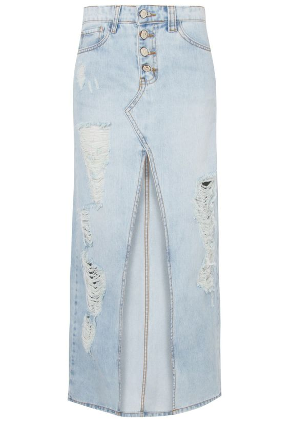 FARM - Saia longa jeans detonada fenda - OQVestir                                                                                                                                                                                 Mais