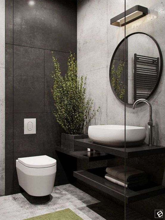 Toilette Suspendue Design Moderne Deco Wc Carrelage Noir Mobilehomeremodeling M Industrial Bathroom Design Industrial Style Bathroom Bathroom Remodel Designs