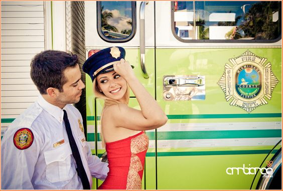 Engagement shoot #firefighter #firetruck