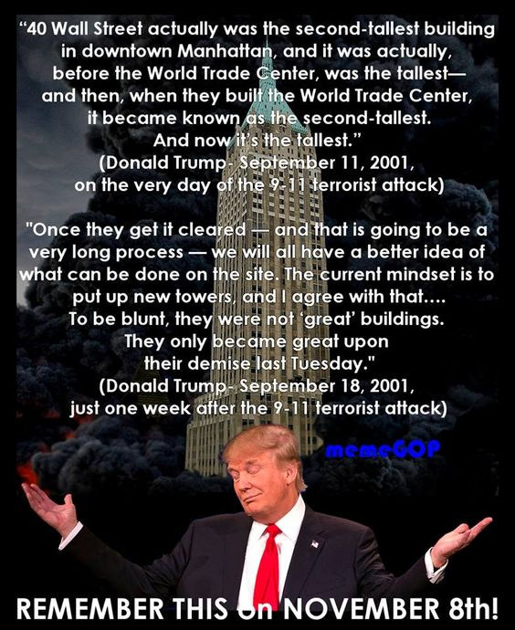 This is what Trump had to say on 9/11/2001, the very day of the terrorist attack…