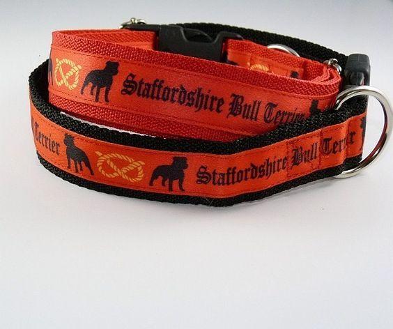 Staffordshire Bull Terrier Motiv, Halsband 30mm breit mit Klickverschluss