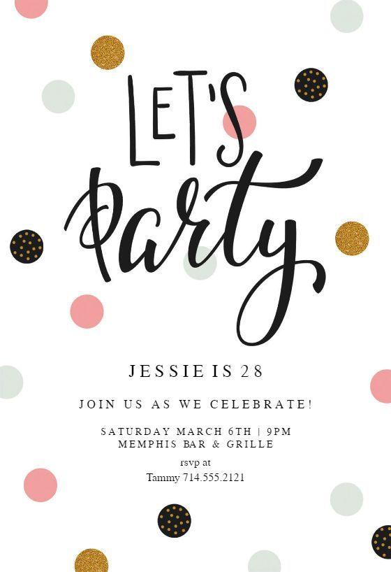 Lets Party Einladungsvorlage Fertigen Sie