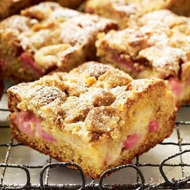 RHUBARB COFFEE CAKE: Cream 1/2 c margarine, 1 1/2 c sugar; add 2 eggs, 1 tsp vanilla; Mix well. Fold in dry ingredients (2 c flour, 1 tsp baking soda, 1/2 tsp salt) alternately with 1 c buttermilk. With 1 T flour, dust 2 1/2 to 3 c chopped rhubarb. Fold into cake mix & pour into 9x13 pyrex pan. Bake 35 min. Sprinkle with mix of 1/4 c margarine, 1 c brown sugar and 2 T cinnamon. Bake 10 min more or till done
