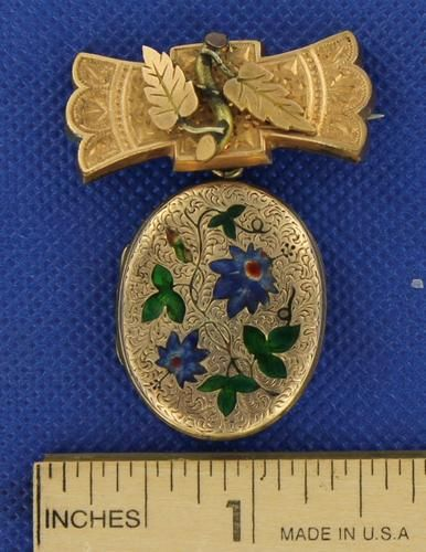 Victorian Pin Brooch Gold Filled Locket with Enamel