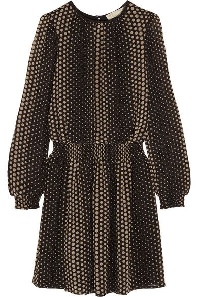 MICHAEL MICHAEL KORS Aralia Polka-Dot Crepe Mini Dress. #michaelmichaelkors #cloth #dresses