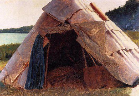 "Eastman Johnson (American, 1824 – 1906), ""Ojibwe Wigwam At Grand Portage"""