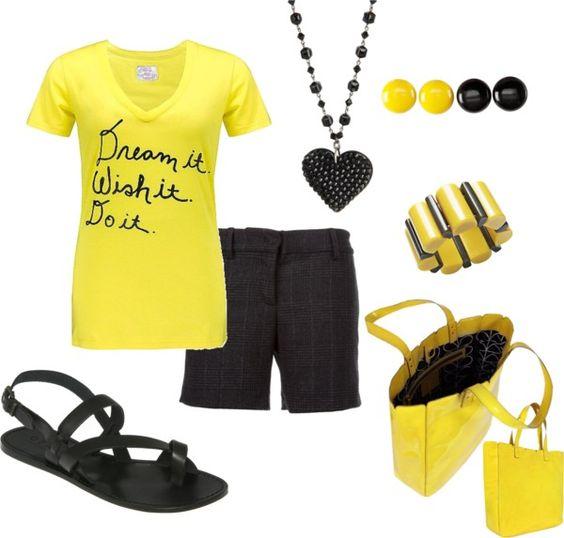 """Yellow & Black"" by jklmnodavis on Polyvore"