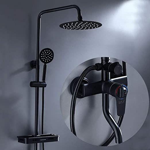 Xzzpt Shower Shower Set All Copper Shower Wall Mounted Bathroom Shower Head Black Shower Stainless Steel In 2020 Bath Shower Mixer Bath Shower Mixer Taps Black Shower