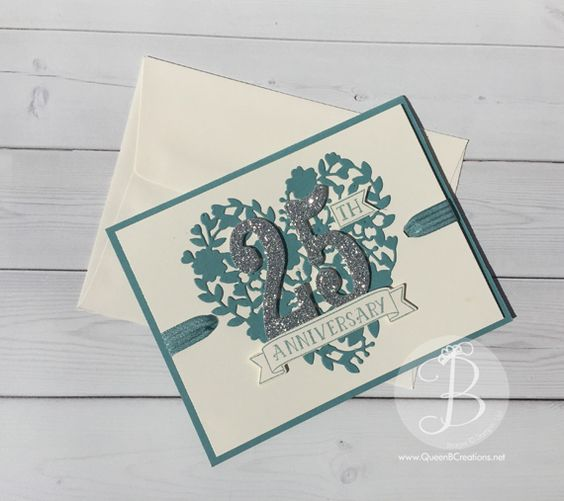 25th Anniversary Card Made With Stampin Up Bloomin Heart And Large Number Dies Anniversary Cards Handmade 50th Anniversary Cards Cards