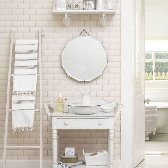 Bathroom small bathrooms and fresh on pinterest for Shabby chic wall tiles
