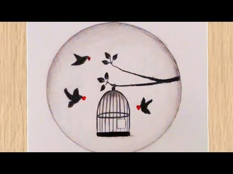 How To Draw Birds Got Freedom From The Cage With Pencil رسم طيور تخرج من القفص رسم سهل رسومات سهلة Youtube Drawings Decorative Plates Decor