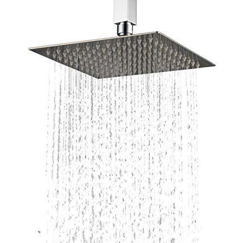 Hiendure 25cm Ultra Thin Stainless Steel Rain Shower Head Square
