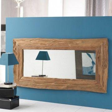 Sublime miroir en bois de teck flott le miroir river for Miroir bois flotte