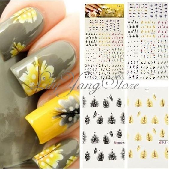 1 Sheet Colorful Peacock Feather Nail Art Water Tips Decoration Decal Stickers