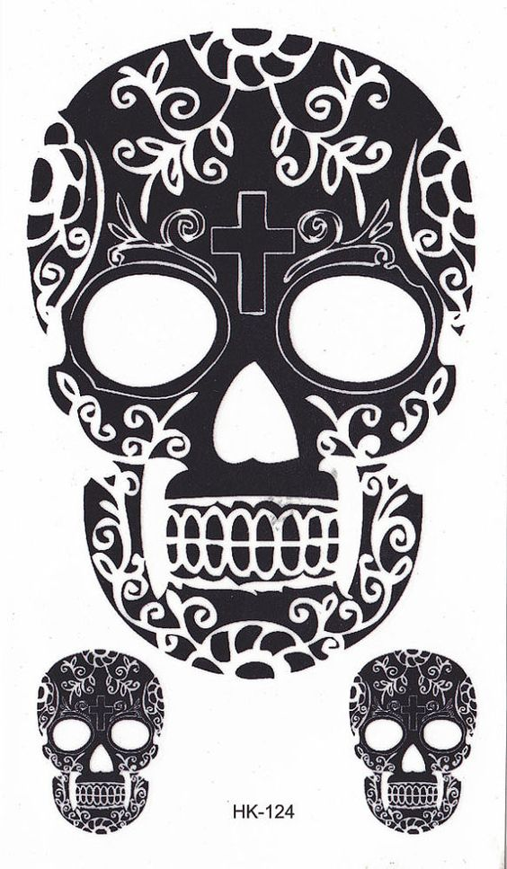 Sugar Skull Temporary Tattoo, Cinco De Mayo Black Henna Tattoos – MyBodiArt