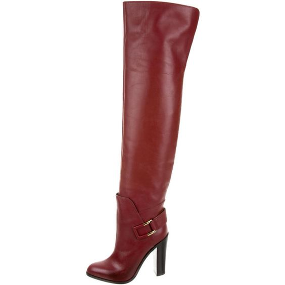 Pre-owned Sergio Rossi Leather Round-Toe Boots ($395) ❤ liked on Polyvore featuring shoes, boots, round cap, genuine leather boots, round toe boots, buckle boots and real leather boots