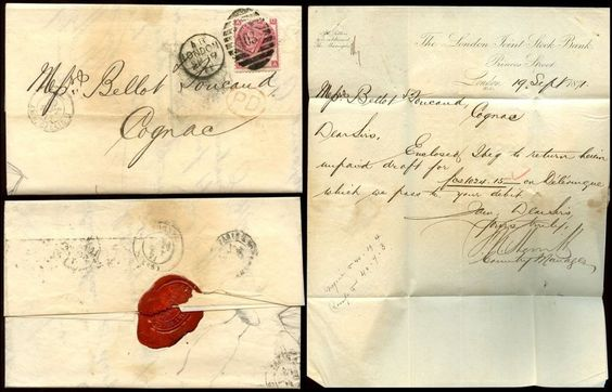 GB QV 1871 THREEPENCE Pl.6 QA on COVER to COGNAC..LONDON JOINT STOCK BANK + SEAL | eBay